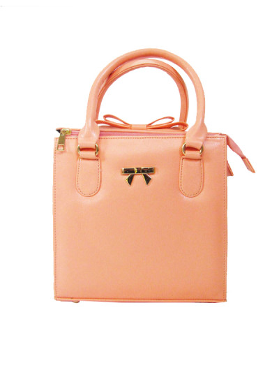 Indian Fashion Designers - Tresclassy - Contemporary Indian Designer - Peach Bow on Top Bag - TC-SS16-TC1004