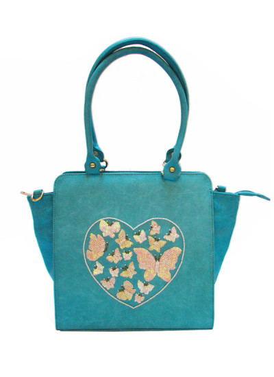 Indian Fashion Designers - Tresclassy - Contemporary Indian Designer - Aqua Blue Sequinned Tote Bag - TC-SS16-TC1010