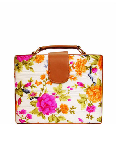 Indian Fashion Designers - Tresclassy - Contemporary Indian Designer - Ivory Floral Flap Lock Briefcase Bag - TC-SS16-TC1025
