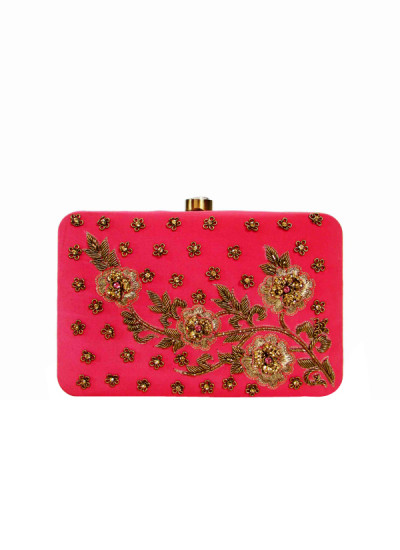 Indian Fashion Designers - Tresclassy - Contemporary Indian Designer - Coral Pink Antique Flower Clutch - TC-SS16-TC1502