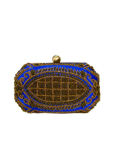 Indian Fashion Designers - Tresclassy - Contemporary Indian Designer - Royal Blue Hexagonal Clutch - TC-SS16-TC1504