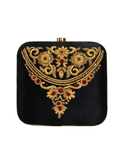 Indian Fashion Designers - Tresclassy - Contemporary Indian Designer - Black Emroidered Square Clutch - TC-SS16-TC1510