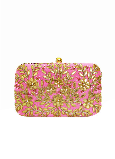 Indian Fashion Designers - Tresclassy - Contemporary Indian Designer - Candy Pink Gota Work Clutch - TC-SS16-TC1511