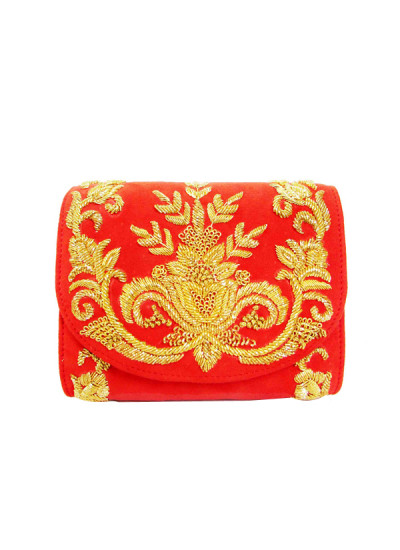 Indian Fashion Designers - Tresclassy - Contemporary Indian Designer - Red Suede Classic Flap Bag - TC-SS16-TC1512