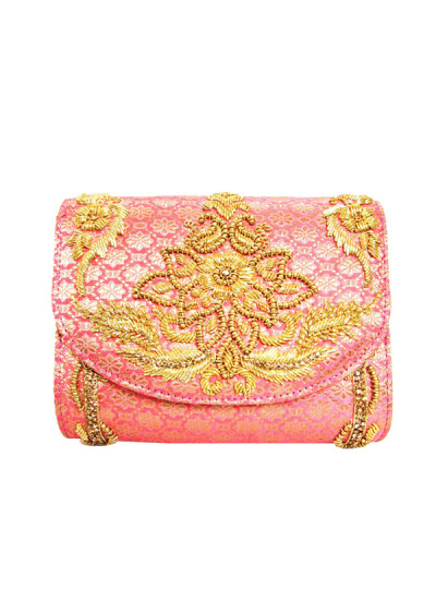 Indian Fashion Designers - Tresclassy - Contemporary Indian Designer - Coral Pink Classic  Flap Bag - TC-SS16-TC1513