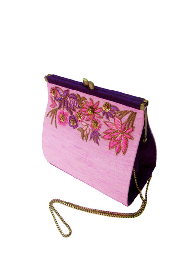 Indian Fashion Designers - Tresclassy - Contemporary Indian Designer - Purple Two Toned Classic Frame Bag - TC-SS16-TC1518
