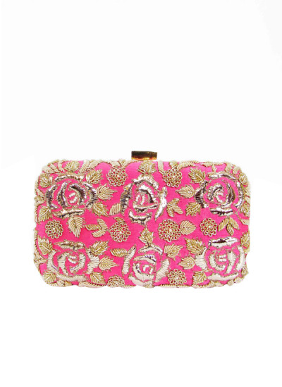 Indian Fashion Designers - Tresclassy - Contemporary Indian Designer - Bright Pink Rose Print Clutch - TC-SS16-TC1520