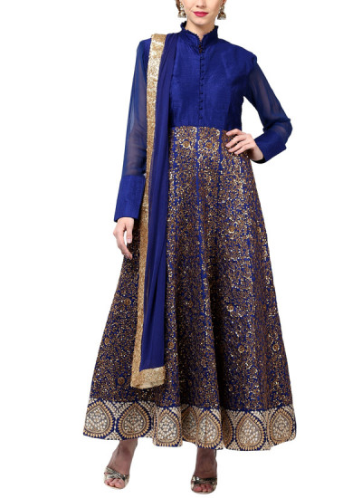 Indian Fashion Designers - True Browns - Contemporary Indian Designer - Gold Jaal Blue Suit - TBS-SS16-TB-00931