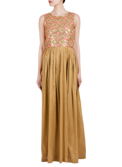 Indian Fashion Designers - True Browns - Contemporary Indian Designer - Beige Embroidered Dress - TBS-SS16-TB1010