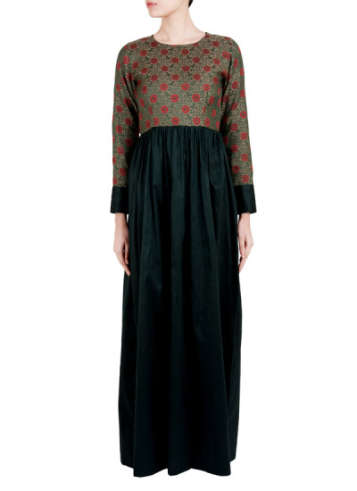 Indian Fashion Designers - True Browns - Contemporary Indian Designer - Green Floral Cuff Dress - TBS-SS16-TB1013