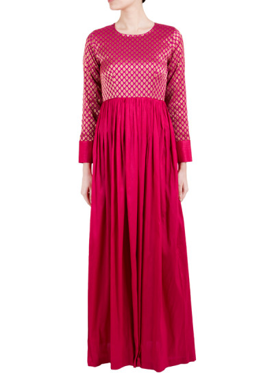 Indian Fashion Designers - True Browns - Contemporary Indian Designer - Pink Cuff Dress - TBS-SS16-TB1015