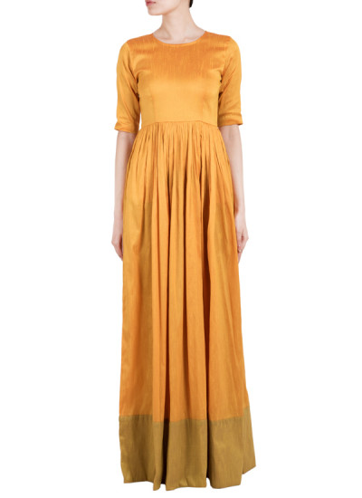 Indian Fashion Designers - True Browns - Contemporary Indian Designer - Yellow Straight Dress - TBS-SS16-TB1020