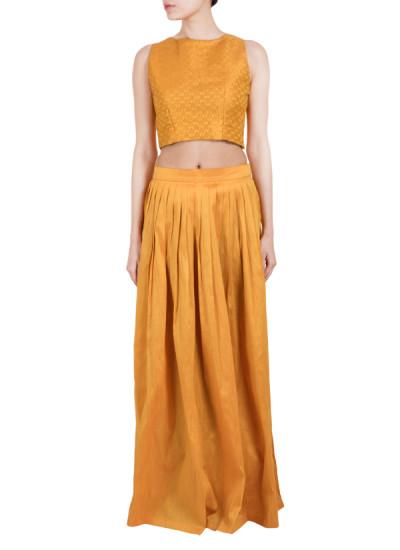 Indian Fashion Designers - True Browns - Contemporary Indian Designer - Brocade Crop Top Set - TBS-SS16-TB1026
