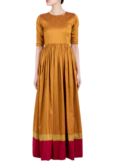 Indian Fashion Designers - True Browns - Contemporary Indian Designer - Brown Gathered Straight Dress - TBS-SS16-TB1036