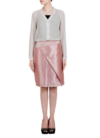 Indian Fashion Designers - True Browns - Contemporary Indian Designer - Pink Silk Asymmetric Skirt - TBS-SS16-TB1040