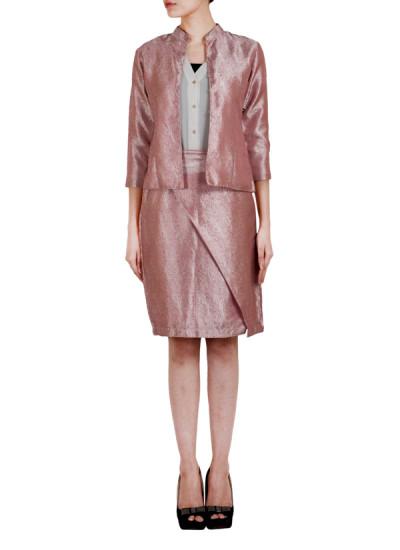 Indian Fashion Designers - True Browns - Contemporary Indian Designer - Pink Silk Blazer Jacket - TBS-SS16-TB1043