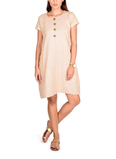 Indian Fashion Designers - True Browns - Contemporary Indian Designer - Khakhi Jute Cotton Dress - TBS-SS16-TB1052