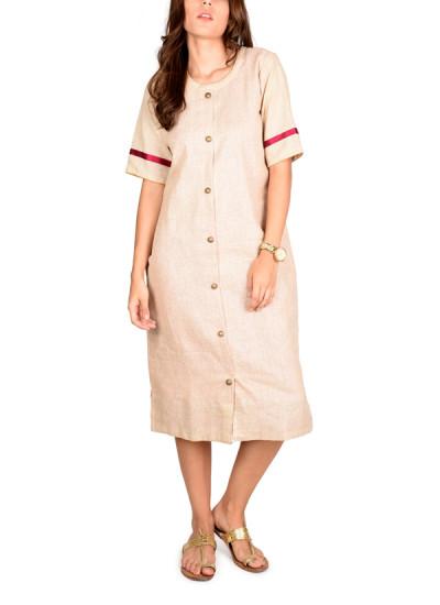 Indian Fashion Designers - True Browns - Contemporary Indian Designer - Khakhi Jute Cotton Shirt Dress - TBS-SS16-TB1052B