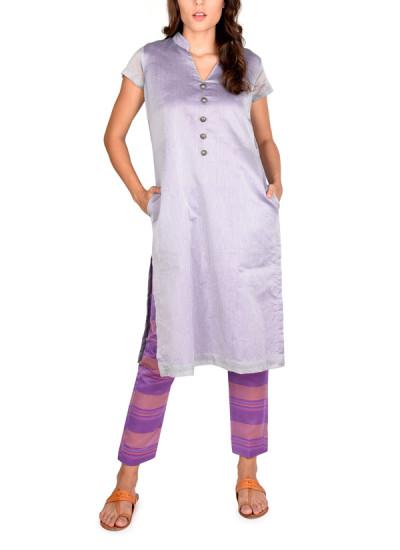 Indian Fashion Designers - True Browns - Contemporary Indian Designer - Grey Slitted Kurta Set - TBS-SS16-TB1083