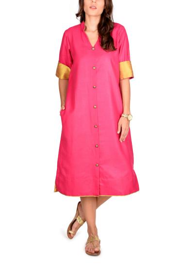 Indian Fashion Designers - True Browns - Contemporary Indian Designer - Pink Shirt Dress - TBS-SS16-TB1125