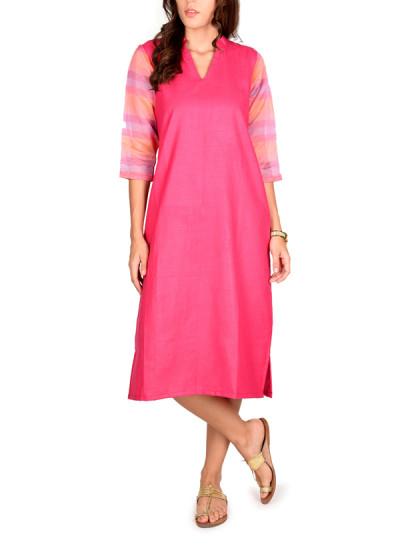 Indian Fashion Designers - True Browns - Contemporary Indian Designer - Pink Box Kurta Dress - TBS-SS16-TB1126