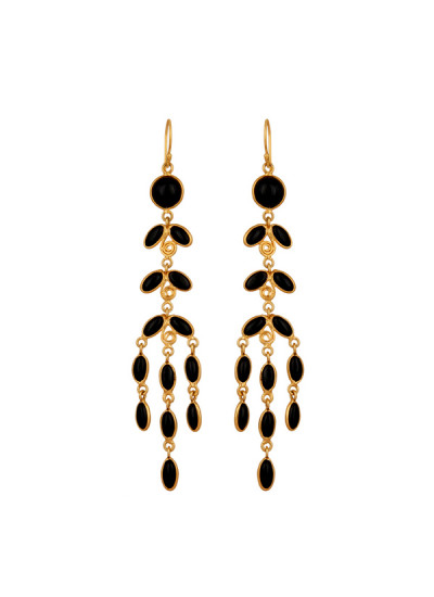 Indian Fashion Designers - Urban Dhani - Contemporary Indian Designer - Black Chandelier Earrings - UD-SS16-UD-S2-GE-EAR-12