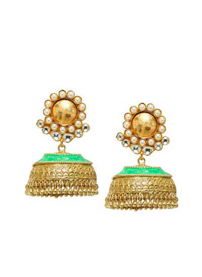 Indian Fashion Designers - Urban Dhani - Contemporary Indian Designer - Polki Enamel Jhumki in Mint Blue - UD-SS16-URD250716EE03