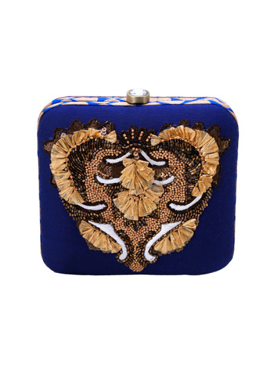 Indian Accessories Designers - Aarbe - Indian Designer Bags - ARB-SS15-AB-10 - Blue Abstract Design Clutch