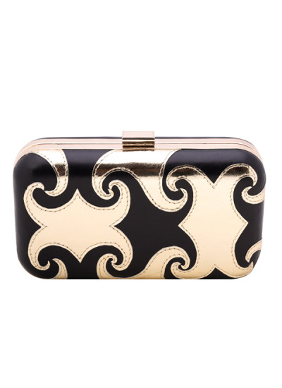 Indian Accessories Designers - Aarbe - Indian Designer Bags - ARB-SS15-AB-11 - Black and Gold Clutch