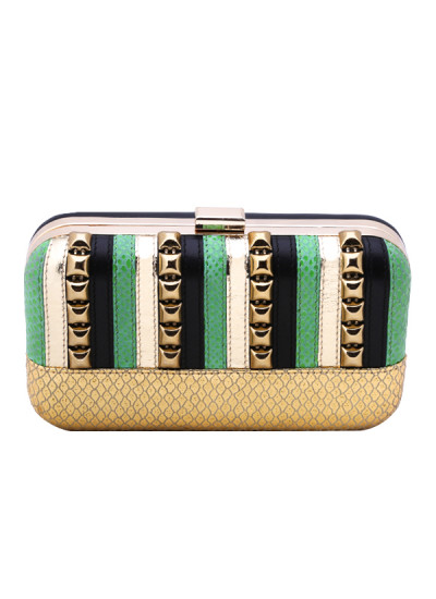 Indian Accessories Designers - Aarbe - Indian Designer Bags - ARB-SS15-AB-12 - Striped Textured Leather Clutch