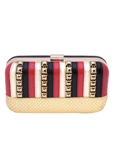 Indian Accessories Designers - Aarbe - Indian Designer Bags - ARB-SS15-AB-13 - Lovely Striped Clutch