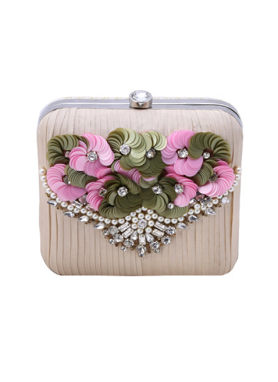 Indian Accessories Designers - Aarbe - Indian Designer Bags - ARB-SS15-AB-2 - Square Floral Clutch