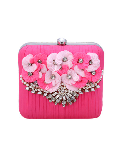 Indian Accessories Designers - Aarbe - Indian Designer Bags - ARB-SS15-AB-3 - Pink Floral Blossom Clutch