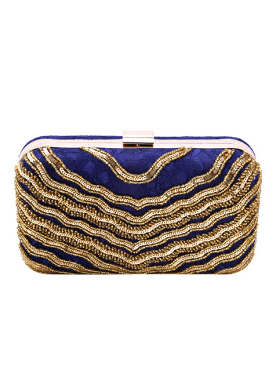 Indian Accessories Designers - Aarbe - Indian Designer Bags - ARB-SS15-AB-4 - Ink Blue and Gold Clutch