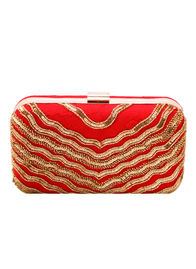 Indian Accessories Designers - Aarbe - Indian Designer Bags - ARB-SS15-AB-5 - Red and Gold Clutch