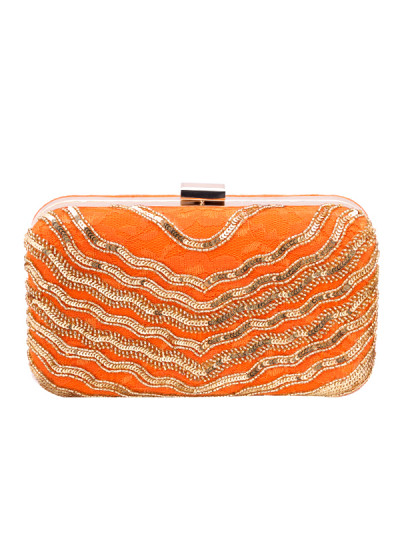 Indian Accessories Designers - Aarbe - Indian Designer Bags - ARB-SS15-AB-6 - Orange and Gold Clutch