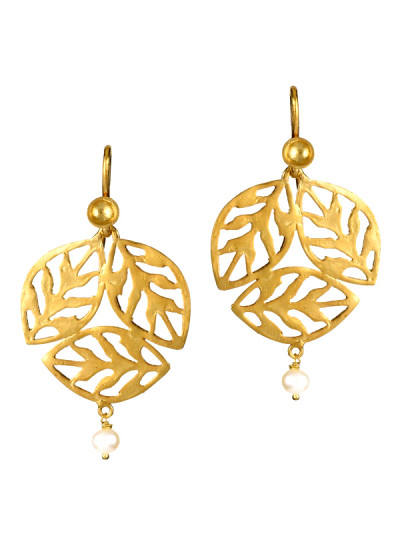 Indian Accessories Designers - Gitika Singh and Sreenivas Reddy - Indian Designer Jewellery - Earrings - ESA-SS15-ESA-0113 - Basil Leaves Round Earrings