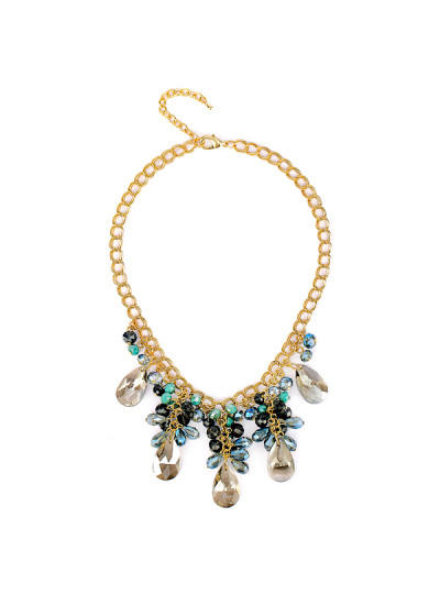 Indian Accessories Designers - Rhea - Indian Designer Jewellery - Necklaces - RH-SS15-6101077 - Aqua and Electric Blue Necklace