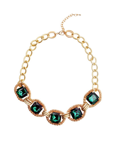 Indian Accessories Designers - Rhea - Indian Designer Jewellery - Necklaces - RH-SS15-9101037 - Emerald Empress Necklace