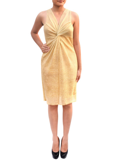Indian Fashion Designers - Janaki - Contemporary Indian Designer - Knotted Gold Dress - JKI-SS16-D3