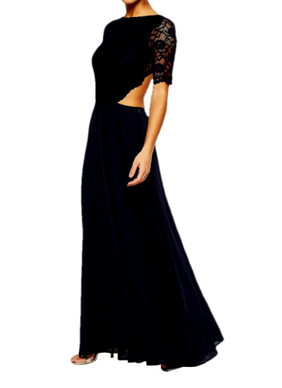 Indian Fashion Designers - Omar Mansoor - Contemporary Indian Designer - Pretty Black Long Dress - OMS-AW16-OMAW168