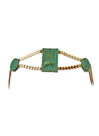 Indian Fashion Designers - Rejuvenate Jewels - Contemporary Indian Designer - Turquoise Motif Headband - RJJ-SS16-RJMM136