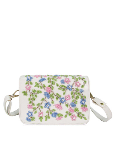 Indian Fashion Designers - Tresclassy - Contemporary Indian Designer - White Floral Sling Bag - TC-SS16-TC1007
