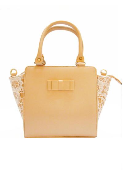 Indian Fashion Designers - Tresclassy - Contemporary Indian Designer - Peach Crochet Tote Bag - TC-SS16-TC1011