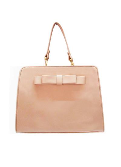 Indian Fashion Designers - Tresclassy - Contemporary Indian Designer - Peach Bow Tote Bag - TC-SS16-TC1012