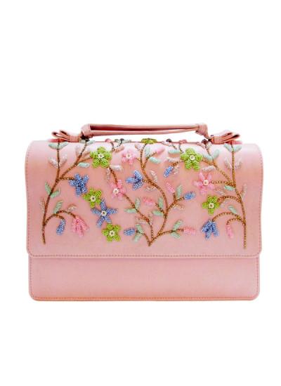 Indian Fashion Designers - Tresclassy - Contemporary Indian Designer - Baby Pink Embellished Handbag - TC-SS16-TC1015