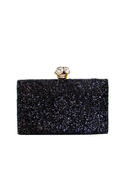 Indian Fashion Designers - Tresclassy - Contemporary Indian Designer - Shimmery Black Slim Box Clutch - TC-SS16-TC1017
