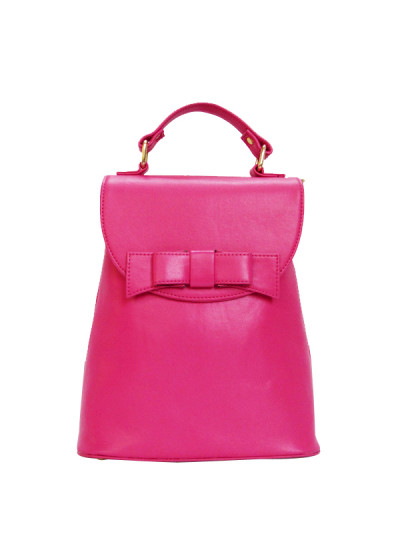 Indian Fashion Designers - Tresclassy - Contemporary Indian Designer - Bright Pink Bow Backpack - TC-SS16-TC1018