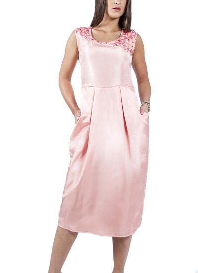 Indian Fashion Designers - Ropero - Contemporary Indian Designer - Dresses - ROP-SS15-RD-175 - Rose Quartz Silk Dress