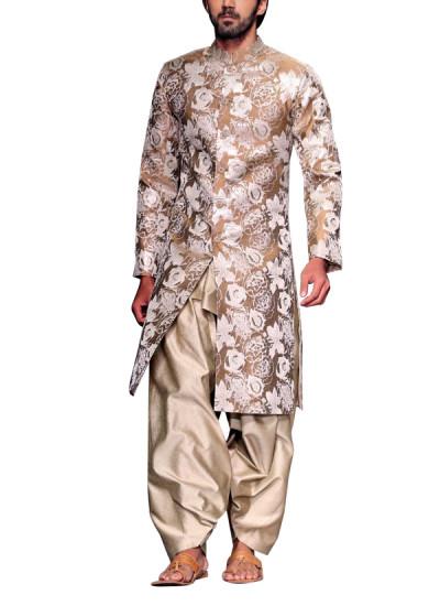 Indian Fashion Designers - Siddhartha Tytler - Contemporary Indian Designer Clothes - Sherwanis - ST-AW15-STC16-SHRWN-011 - Ravishing Jacquard Sherwani Set